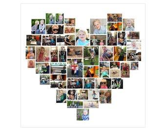 20 x 20 Custom Heart Photo Collage