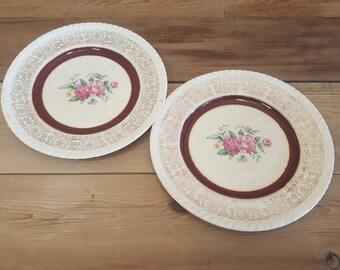 Set of 2 British Empire Ware Rose Point Pattern Side Plates Warranted 22 k. Gold Filigree Design Maroon Band England 1107-52