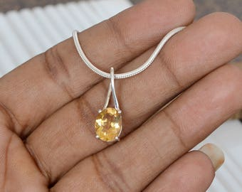 Citrine Gemstone and Sterling Silver Small locket Pendant Jewelry