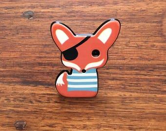 Pirate Fox - Acrylic badge