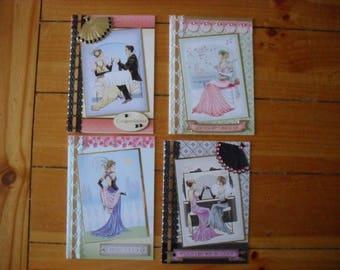 4  x  Hand made Art Deco cards