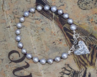 Freshwater Gray/Silver Pearl Bracelet~ Artisan Sterling Bracelet~ Bridal Jewelry~ June Birthstone~ Geniune Pearl Jewelry