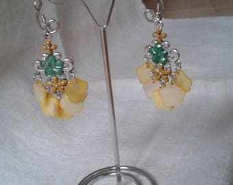 """yellow flower coin"" earrings"