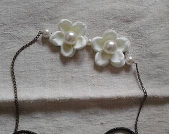 "headband ""connectors and two ivory flowers"""