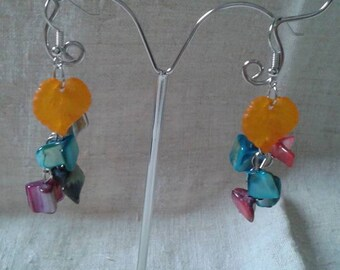 """earrings"" leaf beads and orange """