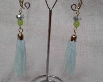 light green tassel earrings