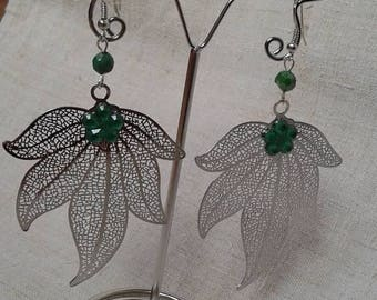 """big silver leaf"" earrings"