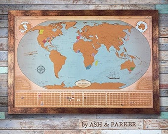 Scratch Off World Travel Map in Beautiful Vintage Style - Graduation Gift Travel Gifts - Extra Large 24 x 36