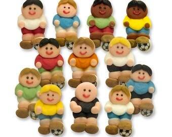 Football, Soccer Team, Footballer Sugar Decorations - Cupcake, Cake, Cookie Sugar Decorations. Edible Footballer Cake Toppers. Pack of 12.