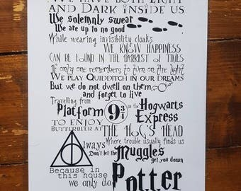 Print//A4//Harry Potter//Movie Quotes//Potter House//Always//Turn on the Light//Muggles//Hogwarts Express//Solemnly Swear I am up to no good