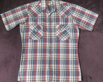 Vintage Ely Cattleman Short Sleeve Western Shirt Size Small