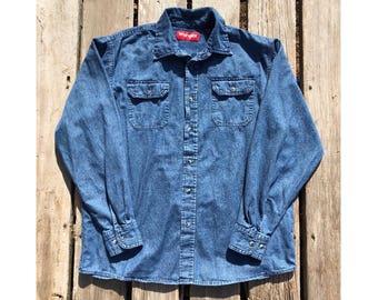 Vintage Wrangler Button Down Denim Shirt