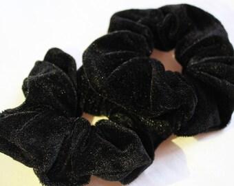 Black Velvet Hair Scrunchies, Hair Ties, Gentle Hair Elastic, Hair Accessories and Handmade Favors or Gifts