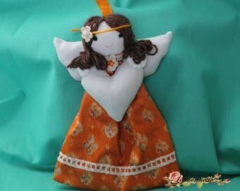 Doll/Angel to hang for decor in shades of orange and white off