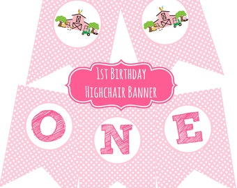 Farm Birthday Party Highchair Banner One Pink Polka Dot Pink Barn Green Tractor Cowgirl Horse Printable Instant Download