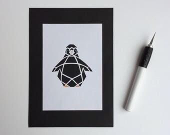 Geometric penguin papercut