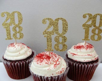 2018 Cupcake Toppers, Gold Cupcake Toppers, New Years Toppers, Wedding Cupcake Toppers, Bridal Party Decor, Gold Glitter Baby Shower Topper