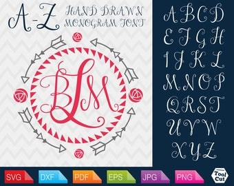 Vine Monogram Letters Svg Rose and Arrows Monogram Svg Hand Drawn Script Font Svg Script Monogram Font Svg Hand Drawn Letters Svg Cricut Dxf