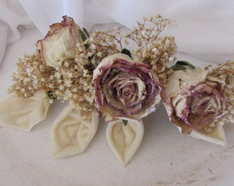 Dried Roses and Velvet leaves with hair comb for your Wedding
