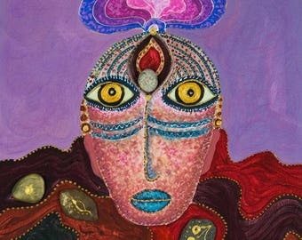 Earth Being- Original Acrylic Painting,Face,Mask,Colours,Mystical