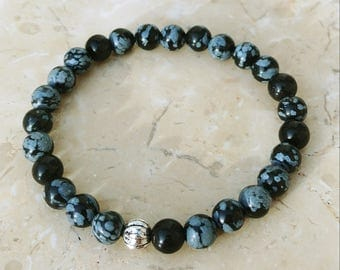 Snowflake Obsidian 6mm Gemstone Beaded Stretch Bracelet