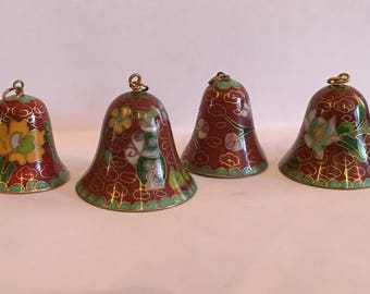 4 Vintage 1950's Brass Cloisonne Miniture Bells. Hand Made in People's Republic of China.