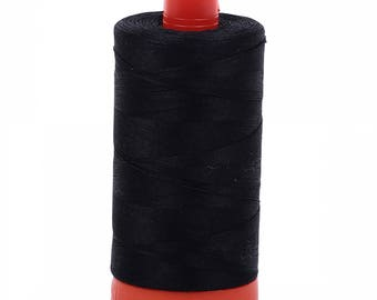 Black 2692 - Aurifil Mako 50 wt Cotton Thread - 1422 yd Spool