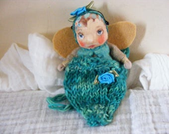 Faerie Baby Cloth Doll in a  Hand Dip Dyed Pure Wool Knitted Carry Pouch