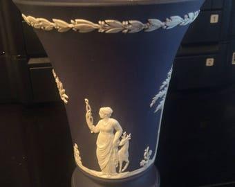 "Wedgwood Dark Blue 6"" Jasperware Neo Classical Vase"