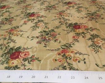 "Vintage - 5th Avenue ""silbury"" petite rose, pansies, and small asters on wood grain beige background"