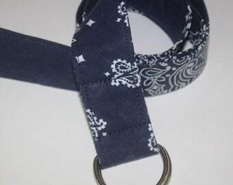 Bandana D-ring Belt made with actual Bandanas. Navy. Small.