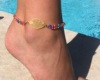 """chain strap ankle multicolor ear leaf """"chic and trendy"""" gold metal chain"""