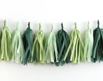 Evergreen Wreath Tissue Tassel Garland Kit - Greens