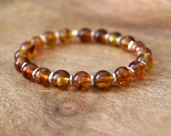 Genuine Baltic Amber / Gemstone Bracelet / Hill Tribe Silver / Sterling Silver / Women's Bracelet / Healing Crystals