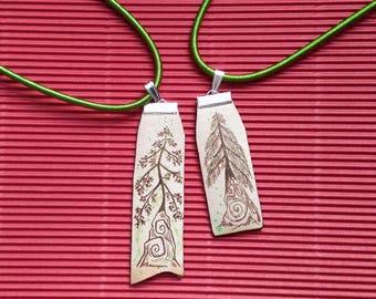 Pendant handpainted leather. Spiral tree