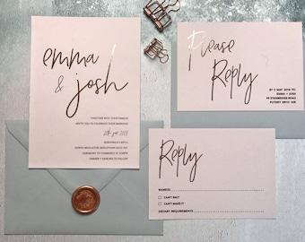 Rose Gold & Blush Wedding Invitation - Rose Gold Foil Wedding Invitation - Modern Wedding Invite