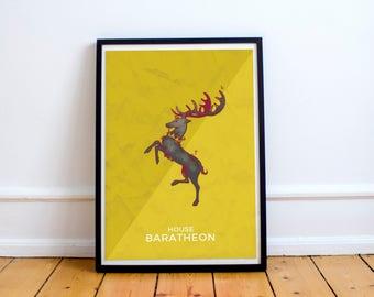 Game of Thrones Wall art House Baratheon poster. Inspired art Game of thrones.  Baretheon banner. Wall Decor