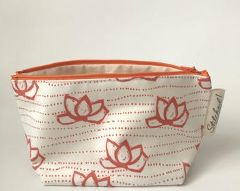 Orange lilypad zipper pouch
