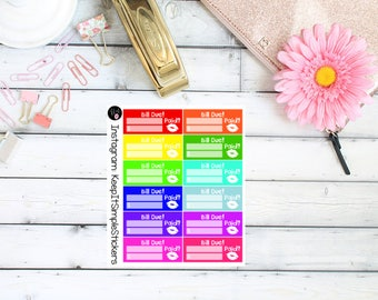 Bright and Bold Bill Due Planner Stickers