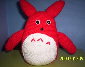 Amigurumi stuffed kids Monster red and white crochet blanket wool
