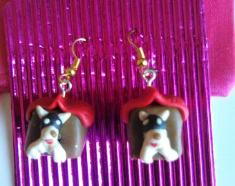 Polymer, Doghouse, Dog, Earrings, Jewellery