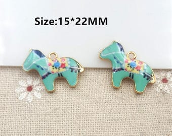 10pcs Colorful Horse Pattern charms Pendant Diy Jewelry Necklace Bracelet,Animal Horse Charm Pendants Accessory