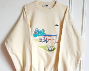 Sweat 100% cotton Lacoste Vintage years 80-90 Made in France size 6 (XL) new without tag.