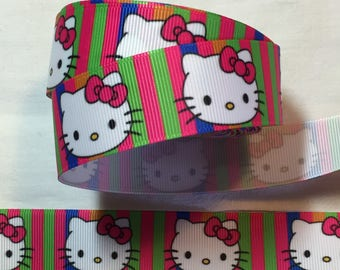 Ribbon grosgrain hello kitty cat white and multicolored customisation