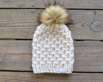 Trendy Pom Pom Hat Fur Pom Pom Beanie, Fur Pom Pom Hat, Womens Pom Pom Beanie Winter Toque Women, Pom Pom Hat, Chunky Knit Pom Pom Hat
