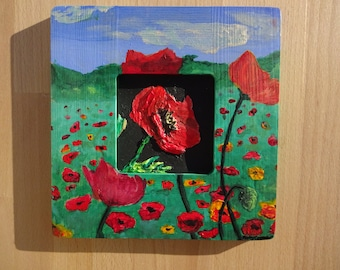 Poppy painting, poppies, red flowers, wooden painting, textured painting, 3D painting, 3D poppies, red poppies, outdoors painting, nature