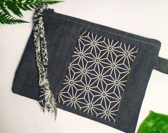 Star Burst Wristlet denim clutch purse