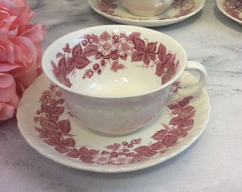 Wedgwood Bramble Pink and White Red Transferware Teacup and Saucer Set Made in England Multiples orphan saucers
