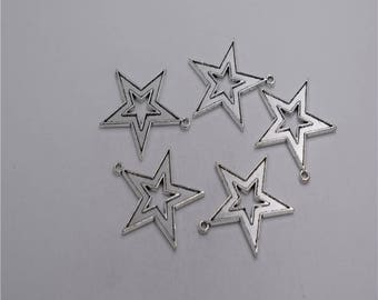 8pcs Antique silver plated big star charm pendant T0255