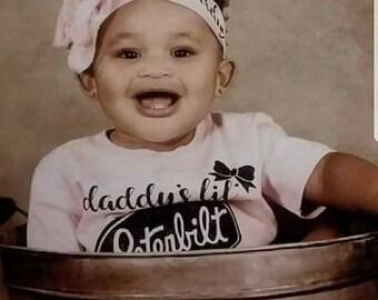 Preemie Newborn, Baby Girl, Toddler, Monogramed,Name, Peterbilt, Bodysuit, Trucker Girl, Daddys Girl, Super Cute, Girl Trucker w/Bow